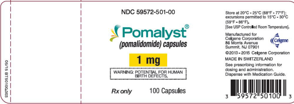 Pomalyst (pomalidomide) Capsules, 1 mg - 100 Count Bottle Label