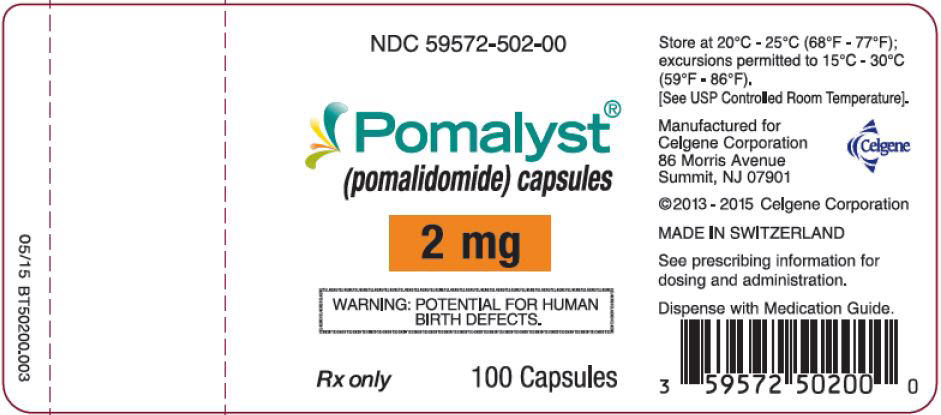 Pomalyst (pomalidomide) Capsules, 2 mg - 100 Count Bottle Label