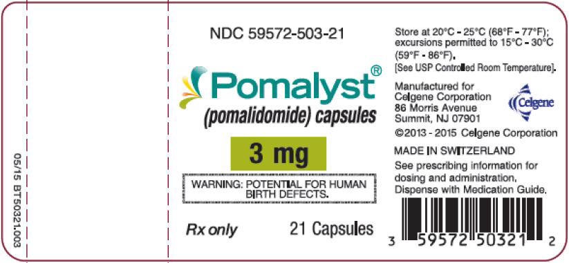 Pomalyst (pomalidomide) Capsules, 3 mg - 21 Count Bottle Label