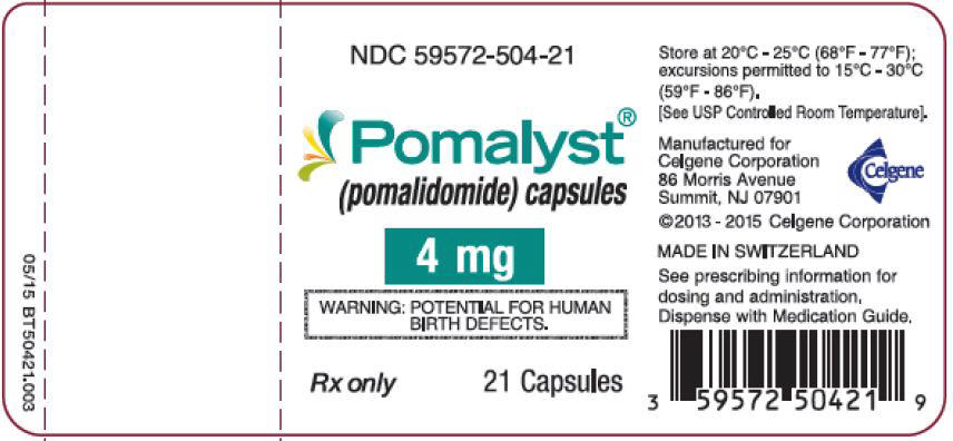 Pomalyst (pomalidomide) Capsules, 4 mg - 21 Count Bottle Label