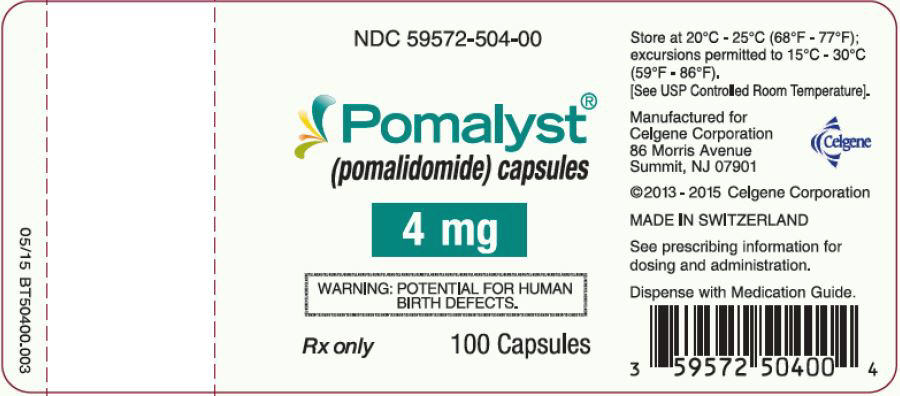 Pomalyst (pomalidomide) Capsules, 4 mg - 100 Count Bottle Label