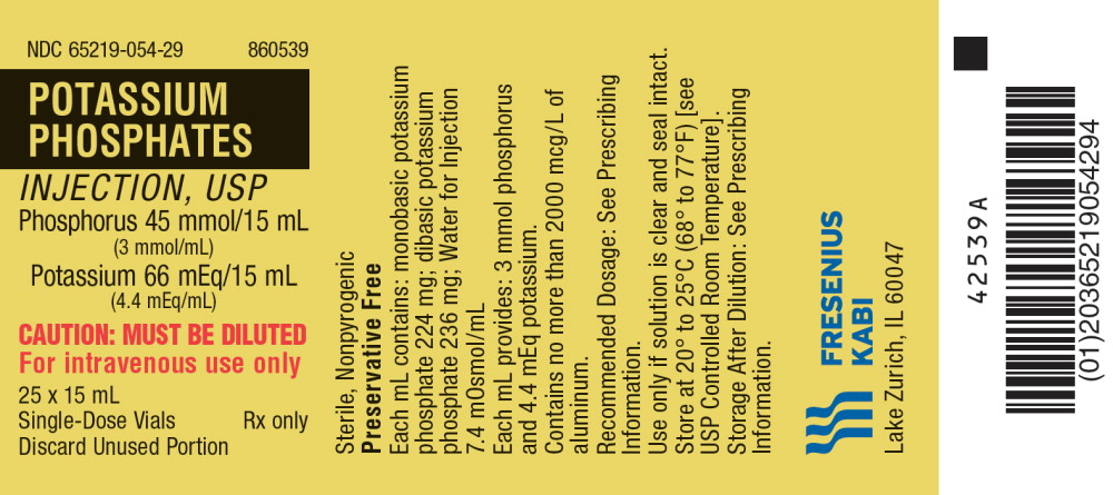 PACKAGE LABEL - PRINCIPAL DISPLAY – Potassium Phosphates Inj, USP 15 mL Tray Label