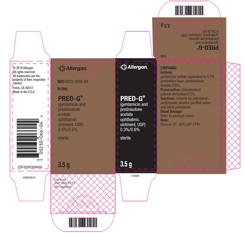 NDC 0023-0066-04 Rx Only PRED-G (gentamicin and  prednisolone  acetate  ophthalmic  ointment, USP) 0.3 % 0.6 % Sterile 3.5 g