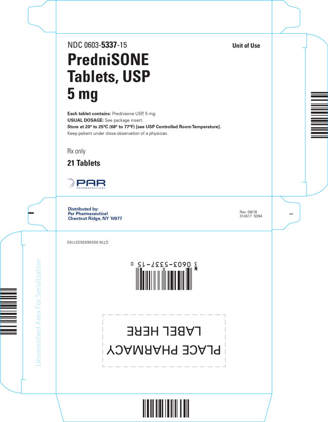This is an image of the carton for PredniSONE Tablets, USP 5 mg 21 count.