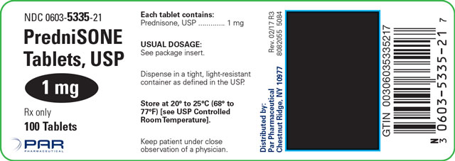 This is an image of a label for PredniSONE Tablets, USP 1 mg.
