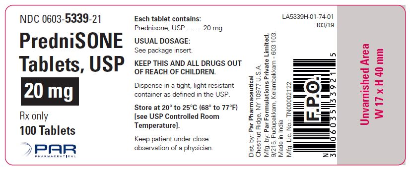 This is an image of a label for PredniSONE Tablets, USP 20 mg.