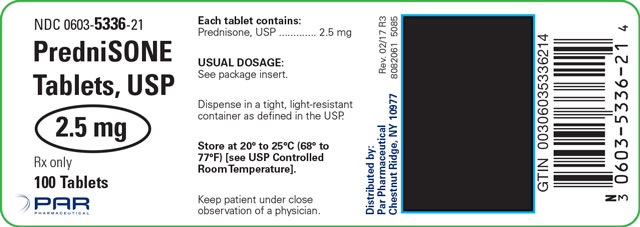 This is an image of a label for PredniSONE Tablets, USP 2.5 mg.