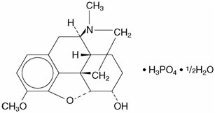 This is an image of the structural formula of Codeine Phosphate.