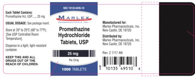 NDC 10135-0495-10 Promethazine Hydrochloride Tablets, USP 25 mg Rx Only 1000 Capsules