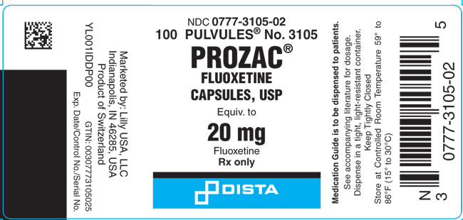 PACKAGE LABEL- Prozac 20 mg, bottle of 100