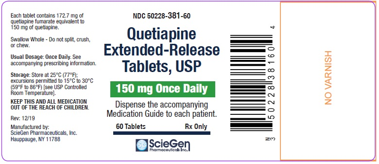 Quetiapine Fumarate 150 mg 60 Count Label