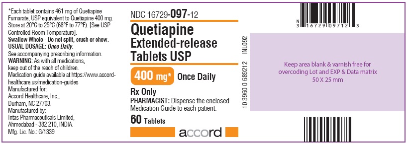 Quetiapine tablet, extended release 400 mg 60 Tablets Bottle