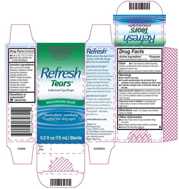 PRINCIPAL DISPLAY PANEL Refresh Tears® Lubricating Eye Drops MOISTURIZING RELIEF Immediate, soothing relief for dry eyes  0.5 fl oz (15 mL) Sterile