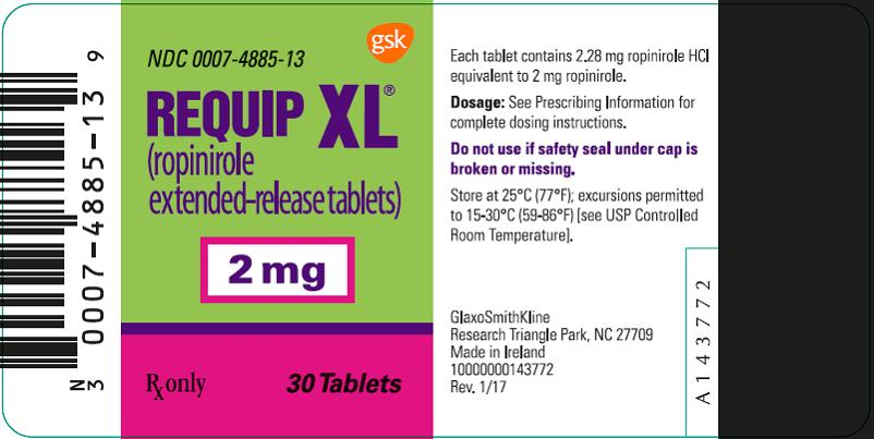 Requip XL 2 mg 30 count label