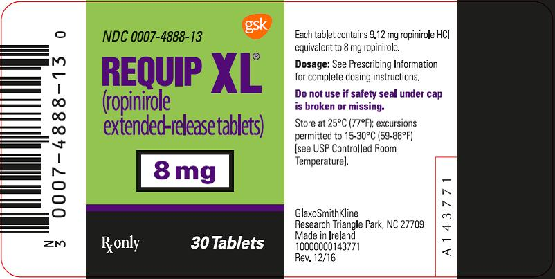 Requip XL 8 mg 30 count label