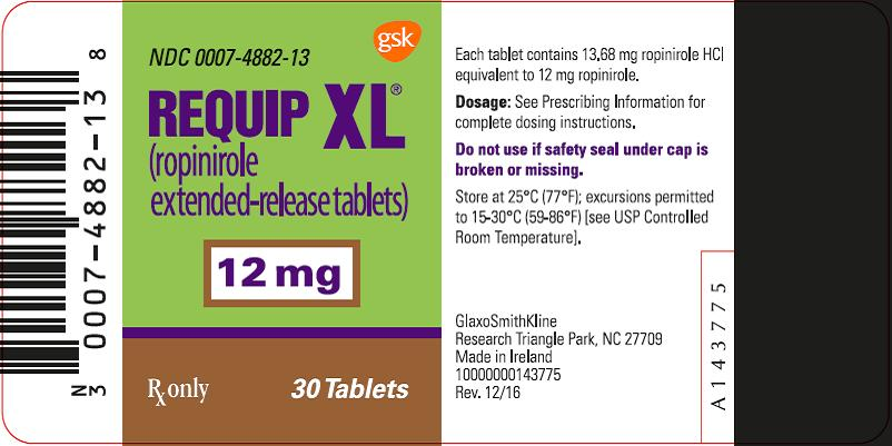 Requip XL 12 mg 30 count label