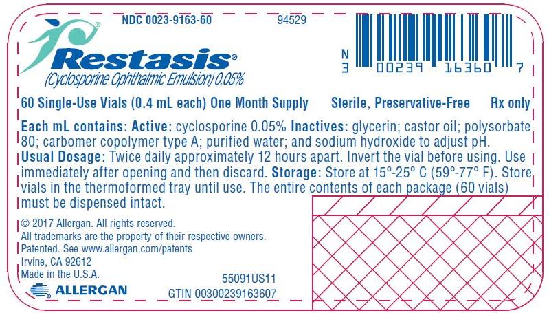 NDC 0023-9163-60  94529 Restasis®  (Cyclosporine Ophthalmic Emulsion) 0.05% 60 Single-Use Vials (0.4 mL each) One Month Supply Sterile, Preservative-Free Rx only ee