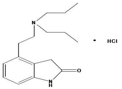 The structural formula for Ropinirole tablets, USP are an orally administered non-ergoline dopamine agonist. It is the hydrochloride salt of 4-[2-(dipropylamino) ethyl]-1, 3-dihydro-2H-indol-2-one mon