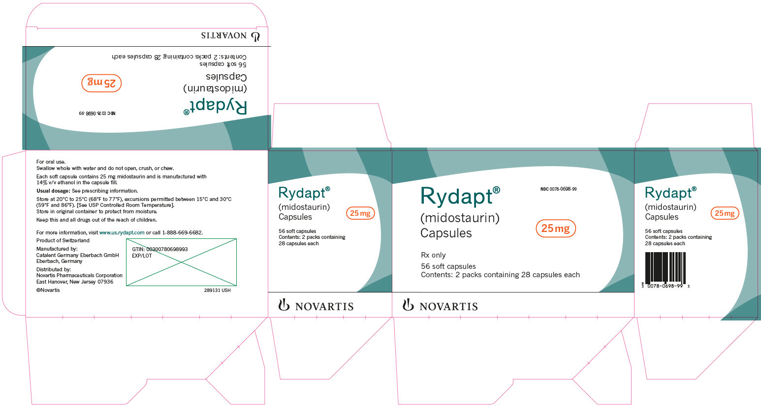 PRINCIPAL DISPLAY PANEL 								Rydapt® 								NDC 0078-0698-99 								(midostaurin) Capsules 								25 mg 								Rx only 								56 soft capsules 								Contents: 2 packs containing 28 capsules each 								NOVARTIS