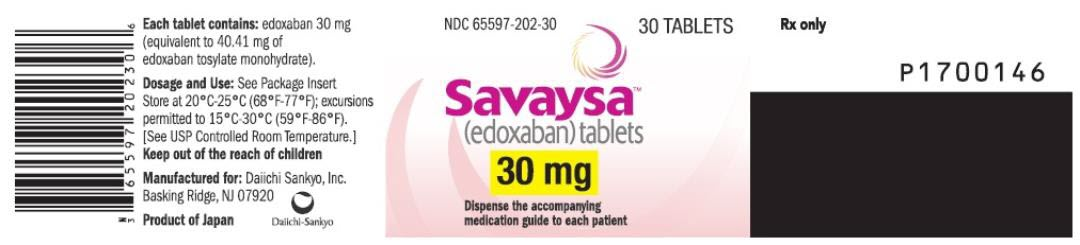 PRINCIPAL DISPLAY PANEL NDC 65597-202-30 Savaysa (edoxaban) tablets 30 mg 30 TABLETS Rx Only