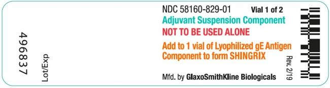 Shingrix 1 count Adjuvant vial label
