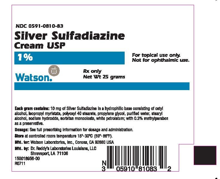 NDC 0591-0810-83 Silver Sulfadiazine Cream USP 1% for topical use only. Not for ophthalmic use. Watson® Rx Only Net Wt 25 grams