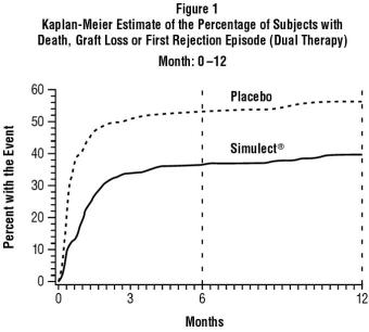 Figure 1: Kaplan-Meier Estimate of the Percentage of Subjects with Death, Graft Loss or First Rejection Episode (Dual Therapy)