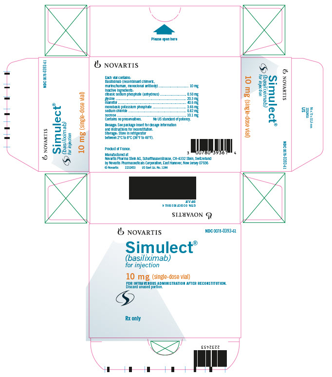 NOVARTIS 							NDC 0078-0393-61 							Simulect® 							(basiliximab) 							for injection 							10 mg (single-dose vial) 							FOR INTRAVENOUS ADMINISTRATION AFTER RECONSTITUTION. 							Discard unused portion. 							Rx only