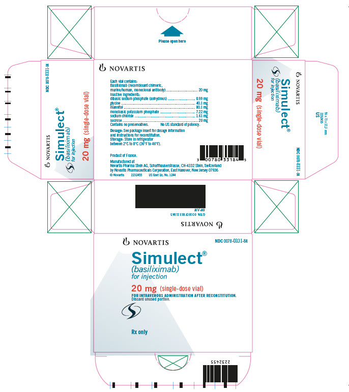 NOVARTIS 							NDC 0078-0331-84 							Simulect® 							(basiliximab) 							for injection 							20 mg (single-dose vial) 							FOR INTRAVENOUS ADMINISTRATION AFTER RECONSTITUTION. 							Rx only