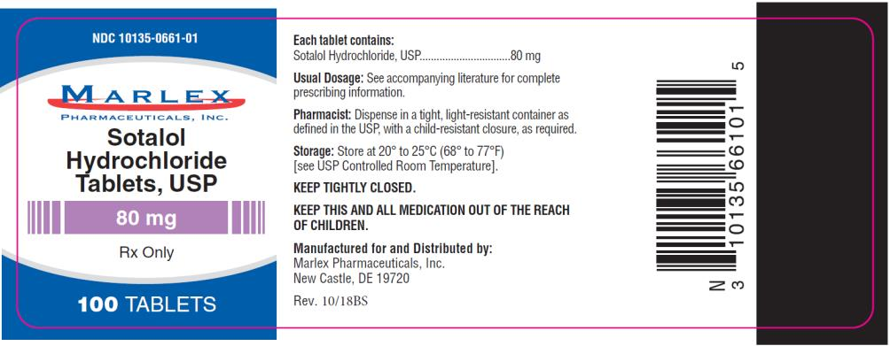 PRINCIPAL DISPLAY PANEL NDC 10135-0661-01 Sotalol Hydrochloride Tablets, USP 80 mg Rx Only 100 TABLETS