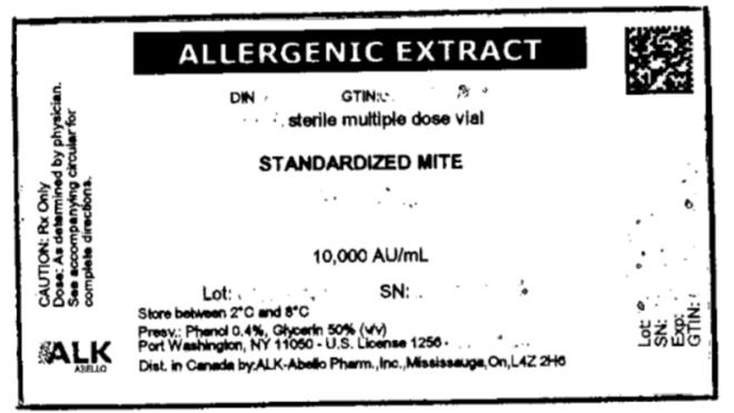ALLERGENIC EXTRACT sterile multiple dose vial STANDARDIZED MITE 10,000 AU/mL