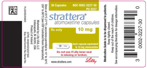 PACKAGE LABEL - STRATTERA 10 mg bottle of 30