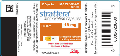 PACKAGE LABEL - STRATTERA 18 mg bottle of 30