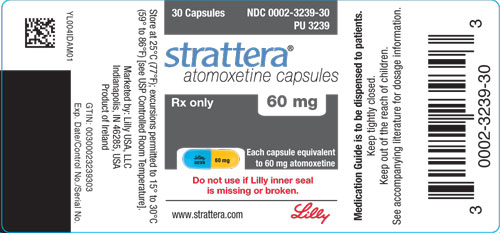 PACKAGE LABEL - STRATTERA 60 mg bottle of 30