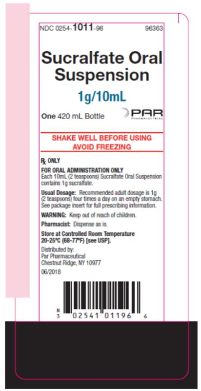 PRINCIPAL DISPLAY PANEL NDC 0254-1011-96 Sucralfate Oral  Suspension 1g/10mL One 420 mL Bottle Rx Only