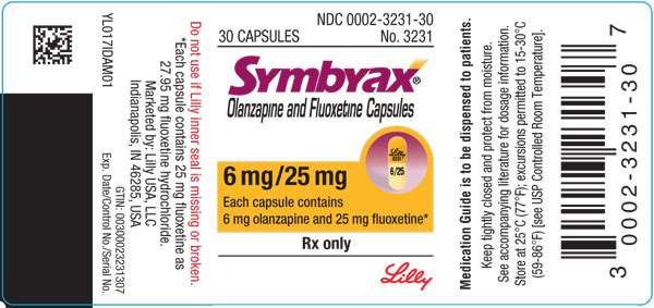 PACKAGE LABEL – SYMBYAX 6mg/25mg capsules, bottle of 30