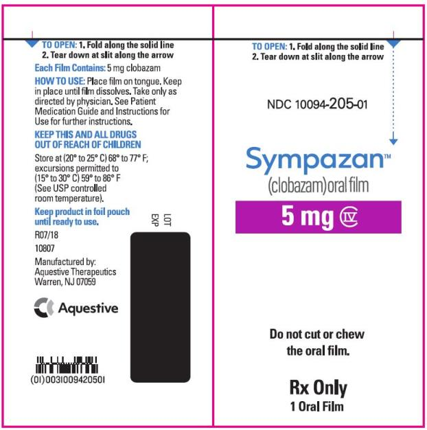 PRINCIPAL DISPLAY PANEL NDC 10094-205-01 Sympazan (clobazam) Oral film 5 mg Rx Only 1 Oral films