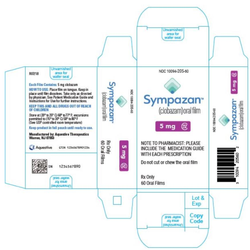 PRINCIPAL DISPLAY PANEL NDC 10094-205-60 Sympazan (clobazam) Oral film 5 mg Rx Only 60 Oral films