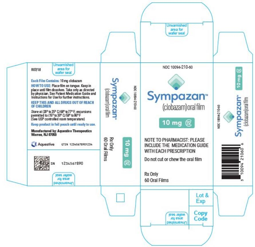 PRINCIPAL DISPLAY PANEL NDC 10094-210-60 Sympazan (clobazam) Oral film 10 mg Rx Only 60 Oral films