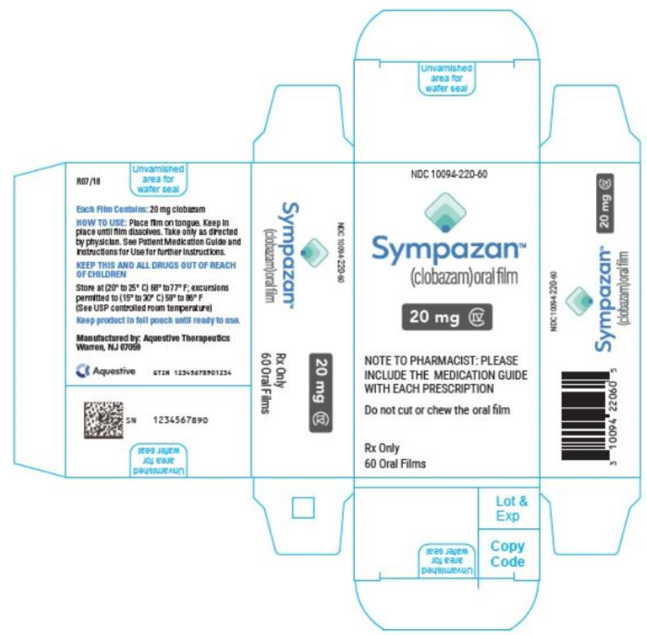 PRINCIPAL DISPLAY PANEL NDC 10094-220-60 Sympazan (clobazam) Oral film 20 mg Rx Only 60 Oral films