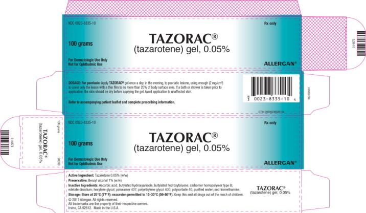PRINCIPAL DISPLAY PANEL NDC 0023-8335-10 TAZORAC (tazarotene)gel, 0.05% 100 grams Rx Only