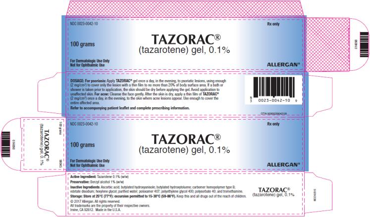 PRINCIPAL DISPLAY PANEL NDC 0023-0042-10 TAZORAC (tazarotene)gel, 0.1% 100 grams Rx Only
