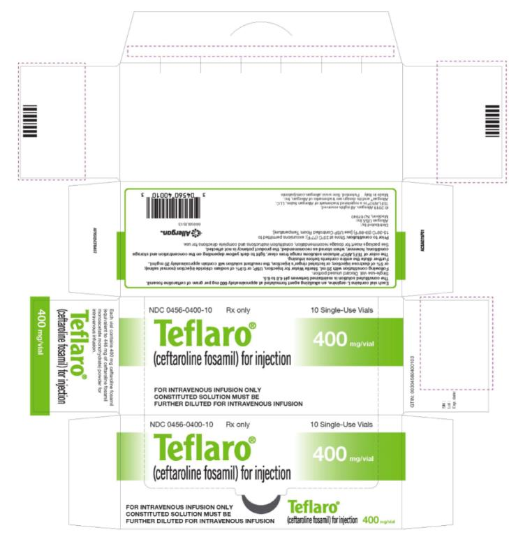 NDC 0456-0400-10 Teflaro® (ceftaroline fosamil) for injection 400 mg/vial 10 Single-Use Vials Rx Only