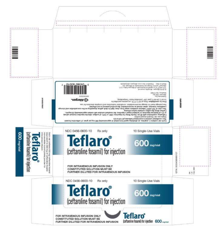NDC 0456-0600-10 Teflaro® (ceftaroline fosamil) for injection 600 mg/vial 10 Single-Use Vials Rx Only