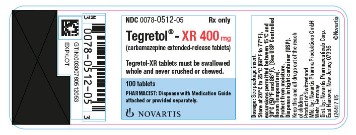 PRINCIPAL DISPLAY PANEL 							NDC 0078-0512-05 							Rx only		 							Tegretol®-XR 400 mg 							(carbamazepine extended-release tablets) 							Tegretol-XR tablets must be swallowed 							whole and never crushed or chewed. 							100 tablets 							PHARMACIST: Dispense with Medication Guide  							attached or provided separately. 							NOVARTIS