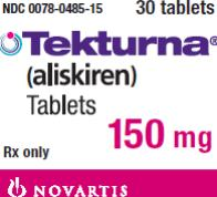 PRINCIPAL DISPLAY PANEL Package Label – 150 mg Rx Only  NDC 0078-0485-15 Tekturna® (aliskiren) Tablets 150 mg 30 tablets