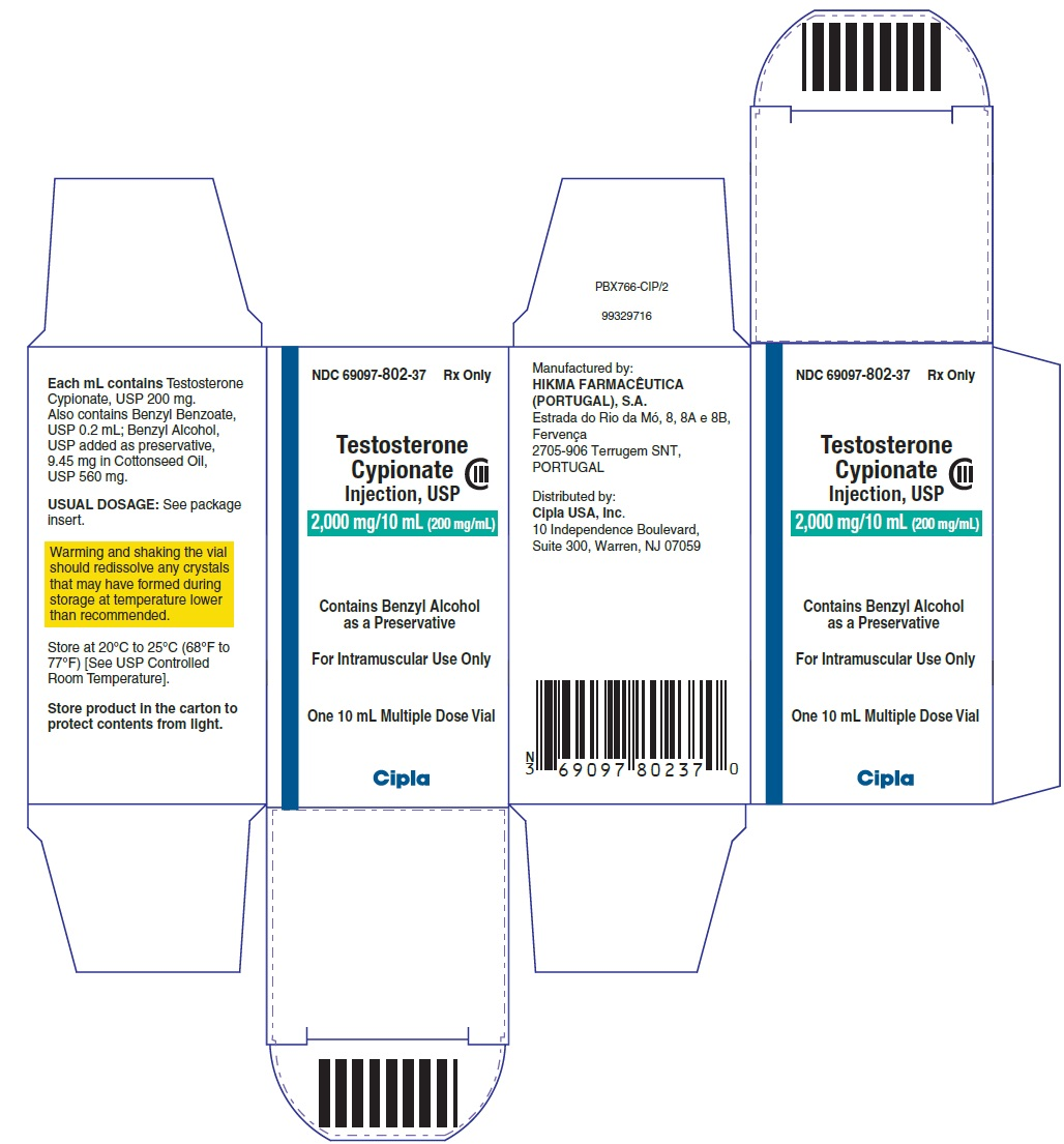 Testosterone Cypionate Injection USP 2000mg - carton