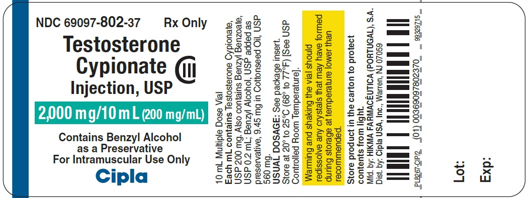 Testosterone Cypionate Injection USP 2000mg - label