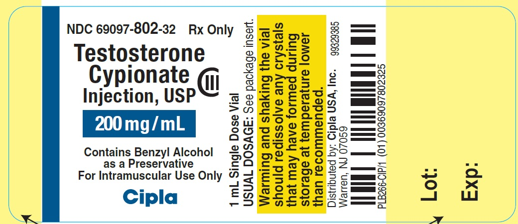 Testosterone Cypionate Injection USP 200mg - label