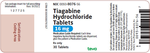 Tiagabine Hydrochloride Tablets 16 mg, 30s Label
